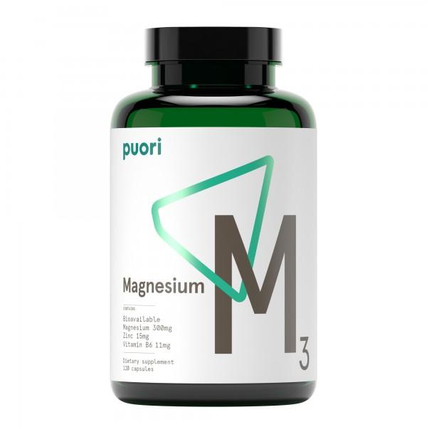 Puori M3 - Magnésio 300mg (Complexo Vegan 120 cápsulas)