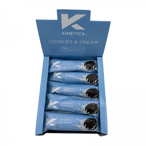Kinetica Caixa de Barras de Proteína Deluxe Cookies and Cream (15 barras de 45g)