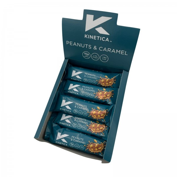Kinetica Caixa de Barras de Proteína Deluxe Amendoim e Caramelo (15 barras de 45g)
