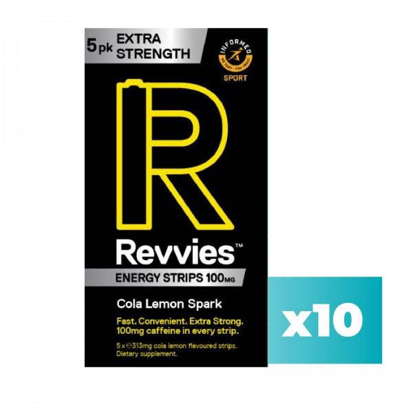 Revvies Tiras Energéticas Cola Limão Extra Forte 100mg cafeína (10x5 pack)