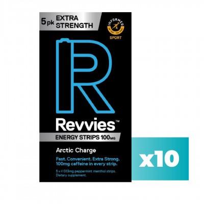 Revvies Tiras Energéticas Arctic Charge Extra Forte 100mg cafeína (10x5 Pack)