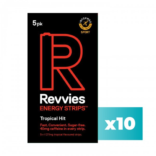Revvies Tiras Energéticas Tropical Hit Charge 40mg cafeína (10x5 Pack)